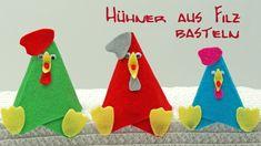 Bunte Hühner aus Filz basteln zu Ostern / Basteln mit Kindern - YouTube