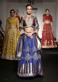 Light Lehengas - Copper Blouse with Royal Blue Lehenga and Gold Gota Work, and the Blue and Gold Brocade Dupatta Indian Wedding Wear, Indian Bridal Fashion, Indian Wear, Indian Weddings, Indian Style, Indian Ethnic, Real Weddings, Royal Blue Lehenga, Choli Dress
