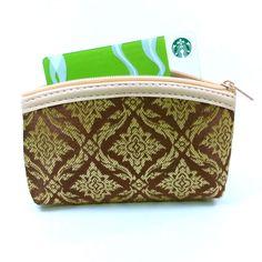Nifty Gold Brown Purse Bag Fabric Zip Thai design Handicraft Wallet Family Gift #Handmade