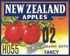 New Zealand Apples Food Icons, Granny Smith, Apples, New Zealand, 1950s, Vegetables, Vintage, Products, Veggie Food