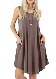 beb5d63d730 peassa Women Summer Sleeveless Flowy Plain Beach T Shirt Pockets Dress  Khaki S
