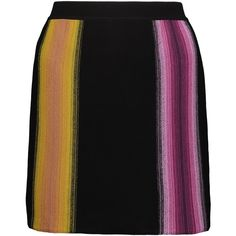 Missoni - Striped Crochet-knit Wool Mini Skirt ($299) ❤ liked on Polyvore featuring skirts, mini skirts, black, short skirts, crochet skirts, zig zag skirt, stripe skirt and striped skirt