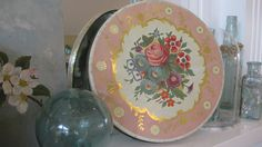 Vintage Shabby Chic cookie tin in pinks, gold and roses.  Great storage idea.  Available at jemsbyjennym.etsy.com