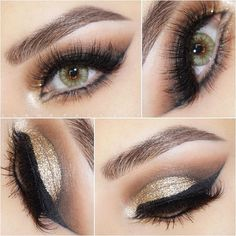 gold glitter cut crease, black winged eyeliner | dramatic evening / NYE / party eye makeup @danapackett