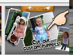 Add your own images to create personalised puppets