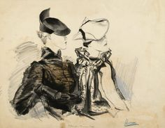 1934, milliner Caroline Reboux Woman at left wears an antelope beret by Reboux with a black astrakhan cape by Max; woman at right wears a grege angora beret rolled into a tricorne by Reboux with a breitschwantz and ermine cape by Max.  Image by Condé Nast Archive/CORBIS