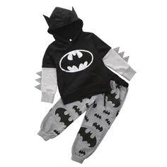 Ropa de los niños 2016 equipos del bebé muchacho de la historieta de Batman Tops con capucha sudadera con capucha + pantalones ropa en Conjuntos de Ropa de Bebés en AliExpress.com   Alibaba Group