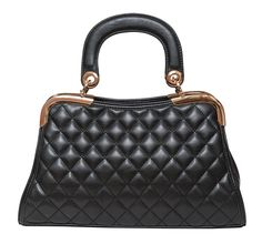 Charlotte Quilted Satchel in Black by Elise Hope $98 www.elisehope.com