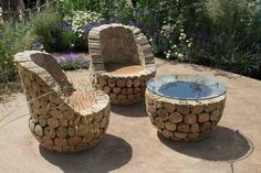 rustic log rounds make chairs and fire pit.