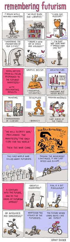 """""""Remembering Futurism"""" by Grant Snider: """"Filippo Tommaso Marinetti was a man of inherited wealth, artistic vision, controversial political views, and a well-curled mustache. His """"Futurist Manifesto"""" is an outlandish and entertaining document that would be difficult to parody. I've paraphrased parts of the manifesto in this comic while trying to stay true to the spirit of the original."""""""