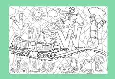 Coloriage géant : les Alphas - En classe Pascale ! Home Interior, Diy For Kids, Ranger, Teaching, Activities, Education, Alpha Bet, Cycle 2, Homework