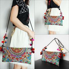 Colorful Hmong Bag Shoulder Bag Cross-body Bag by KhumWiengKham