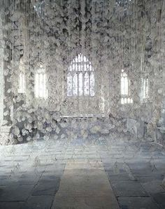 Installations by Susie MacMurray - UPCYCLIST The beautiful Echo (2006) pictured above is an installation of 10,000 hairnets containing strands of used violin bow-hair in York St Mary's, Yorkshire.
