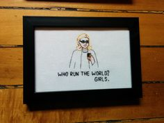Hillary Clinton Needlepoint - Who Run The World? Girls. ***Orders made after Oct 25 will be shipped Nov 1*** by partsandlabor on Etsy https://www.etsy.com/listing/108781142/hillary-clinton-needlepoint-who-run-the