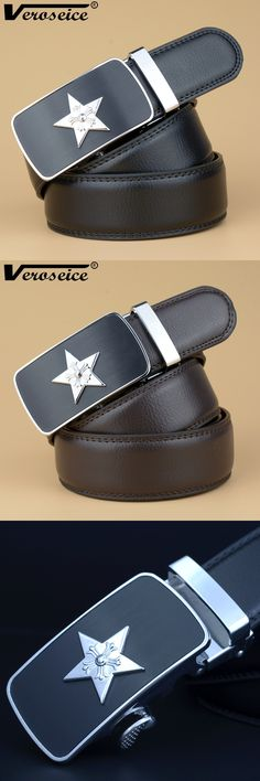 [Veroseice] Fashion Star Buckle Belt Mens belt Luxury Design Belts Men High Quality Leather Men Belt Cinturones Hombre Ceinture