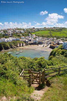 Stunning coast path view of Port Isaac. Cornwall, England.