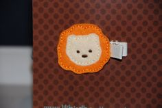 Felt Embroidered Orange & Beige Lion Hair Clip by lilibirdbowtique, $3.50