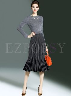 ee306d681906 Elegant Slim Mermaid Knitted Two-piece Outfits