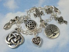 Celtic symbols silver charm bracelet- knot, tree of life, cross,spiral | NightOwlJewelry - Jewelry on ArtFire