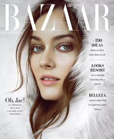 Jac Jagaciak is ready for winter on the December 2016 cover of Harper's Bazaar Mexico. Photographed by Matallana