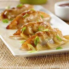 Teriyaki Chicken Potstickers / Dumplings - 35 pieces per tray asian cooking Pot Stickers Recipe, Tapas, Asian Recipes, Healthy Recipes, Asian Foods, Vietnamese Recipes, Chinese Recipes, Easy Recipes, Tomato Cream Sauces