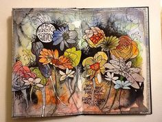 My journal spread from Paivi Eerola's class 'Imagine Monthly'. The Magic Garden.
