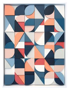 With a background in graphic design, Brooklyn-based artist Scott Albrecht creates abstract works in painted wood that draw on typographic forms and the techniques of visual communication. Abstract Geometric Art, Geometric Graphic, Abstract Pattern, Graphic Art, Pattern Painting, Geometric Prints, Wall Painting Decor, Geometric Background, Graphic Design Illustration