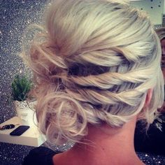 Twisted updo for short hair.