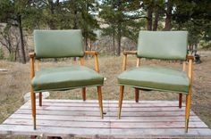vintage arm chairs Jens Risom style Danish modern green by gleaned, $400.00
