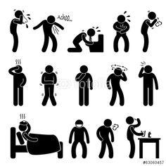 Vektor: Sick ill Fever Flu Cold Sneeze Cough Vomit Disease