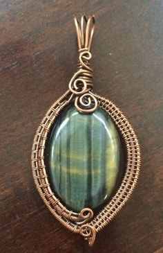 Antiqued Copper Wire Woven Weaved Wrapped Oval Blue Tiger s Eye Pendant NEW