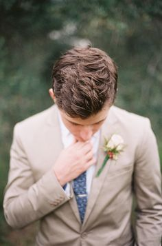 Whimsical groom style: http://www.stylemepretty.com/2016/02/15/elegant-australian-olive-grove-wedding-with-shades-of-silver/ | Photography: Byron Loves Fawn - http://byronlovesfawn.com/