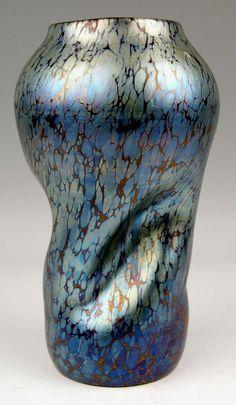 Vase Loetz Widow Klostermuehle Bohemia Art Nouveau Cobalt Papillon c.1900 4