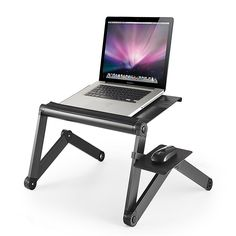 Workez Laptop Cooling Stand With Fans, Usb And Mouse Pad In Black - Keep your laptop cool and your posture straight with the Laptop Cooling Stand from WorkEZ. This lightweight laptop stand easily adjusts to your desired height for maximum comfort while working on your electronic device. Laptop Cooling Stand, Laptop Stand, Desk Tray, Table Tray, Bed Table, Usb, Laptop Table, Laptop Tray, Lap Desk