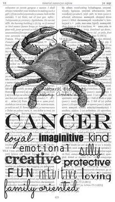 Cancer Zodiac Typography Dictionary Print / by AllNaturalElements, $18.00
