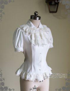Last Chance: Vintage Short Sleeve Shirt Blouse Jabot Set Retro Fashion White Black Grey Lolita Fashion, Retro Fashion, Vintage Fashion, Victorian Shirt, Neo Victorian, Vintage Shorts, Blouse Vintage, Vintage Tops, Lace Decor