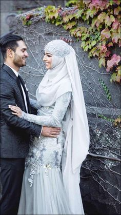 Muslim Bridal Dresses - Grey Gown And Lace Hijab