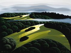 Eyvind Earle® - OF THE HILLS AND VALLEYS - serigrahp As the clouds and fog depart And at last begins the start Of gayer happier days And youthful healthier ways Landscape Art, Landscape Paintings, Eyvind Earle, Bg Design, Hills And Valleys, Magic Realism, Animation Background, Disney Background, Inspirational Artwork