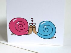 Snail Valentines Day, Snail Anniversary Card, snail doodle, made on recycled paper, comes with envelope and seal by ladybugonaleaf on Etsy