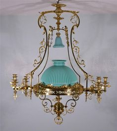 Large French Antique Bronze Gas Chandelier Gasolier Hanging Lamp Ebay