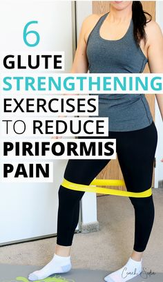 Here are 6 powerful glute strengthening exercises that'll reawaken the glutes, stabilize the hips and help you reduce piriformis syndrome pain and avoid flare-ups too. If you get lower back pain… Piriformis Exercises, Hip Flexor Exercises, Sciatica Stretches, Yoga Exercises, Sciatica Pain Relief, Balance Exercises, Lower Back Pain Exercises, Hip Pain, Lower Leg Pain