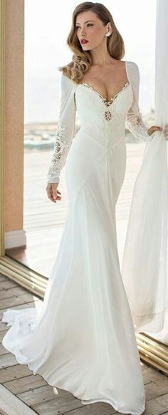 New Arrival 2019 Elegant Long Sleeve Mermaid Wedding Dress Vestido De Noiva Chiffon And Spandex Bridal Gowns Robe De Mariee Beautiful Wedding Gowns, Beautiful Dresses, Elegant Wedding, Elegant Bride, Grecian Wedding, Egyptian Wedding, Wedding Dresses For Girls, Dress Wedding, Long Sleeve Wedding