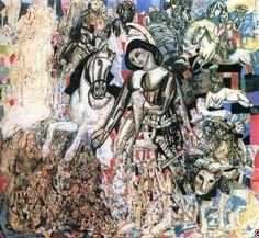 """¤ Pavel Filonov, """"Untitled (St. George the Victorious),"""" 1915."""