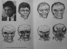 Concept art for Jeff Goldblum's transformation from The Fly (1986)