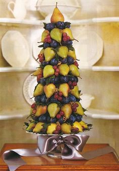 Pear tree...i think I might just make this tree using fake fruit for a lasting tree decoration...love it
