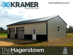 The Hagerstown - 26 x 40 x 10 View, configure and price this building at http://www.MyPoleBuilding.com/