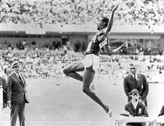 Long jump: 1968 Mexico Olympic Games.  The 22-year-old almost failed to qualify for the Olympic long jump final after fouling two of his jumps, but he scraped through to the main event in Mexico Photograph: AFP/AFP/Getty Images
