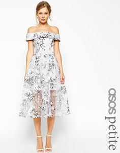 ASOS PETITE SALON Bardot Dress In Organza Floral Midi