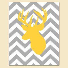 Modern Chevron Deer Head Silhouette Print  8 x 10 by Tessyla, $20.00
