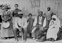 Harriet Tubman (far left), was an American abolitionist and she is photographed with a group of slaves she helped escape in the 19th century